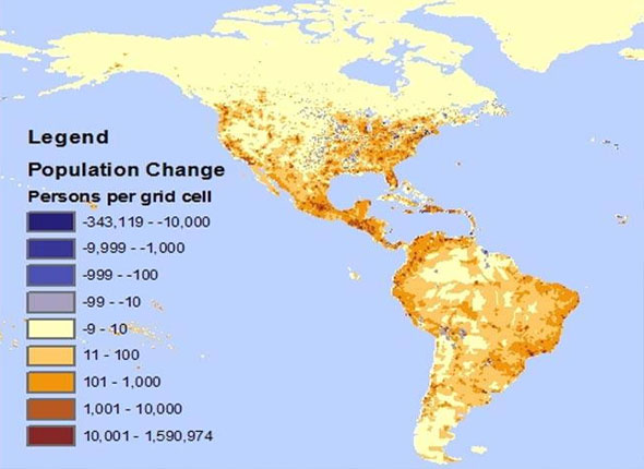 Map of North and South America shows increasing populations in coastal areas
